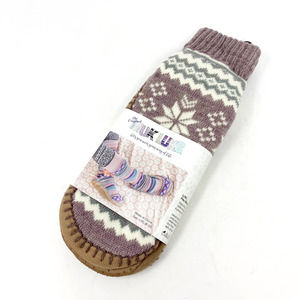 Muk Luk Fair Isle Mauve Slipper Socks NEW Large XL